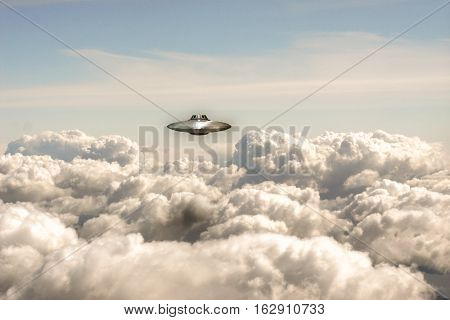 3d illustration of an unidentified flying object over a huge cloudscape