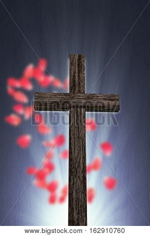3d illustration of an old wooden cross