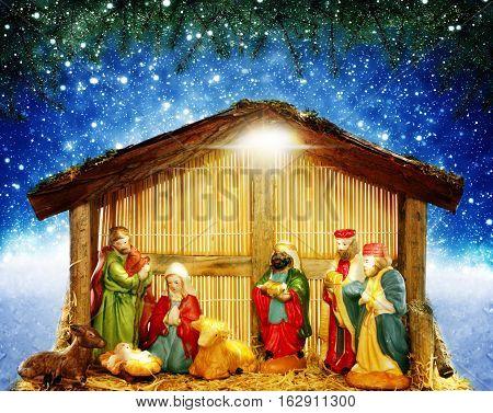 Nativity scene in front of Starry sky