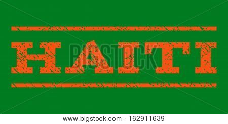 Haiti watermark stamp. Text tag between horizontal parallel lines with grunge design style. Rubber seal stamp with scratched texture. Vector orange color ink imprint on a green background.
