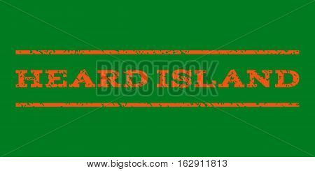 Heard Island watermark stamp. Text caption between horizontal parallel lines with grunge design style. Rubber seal stamp with dust texture. Vector orange color ink imprint on a green background.