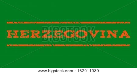Herzegovina watermark stamp. Text caption between horizontal parallel lines with grunge design style. Rubber seal stamp with scratched texture. Vector orange color ink imprint on a green background.