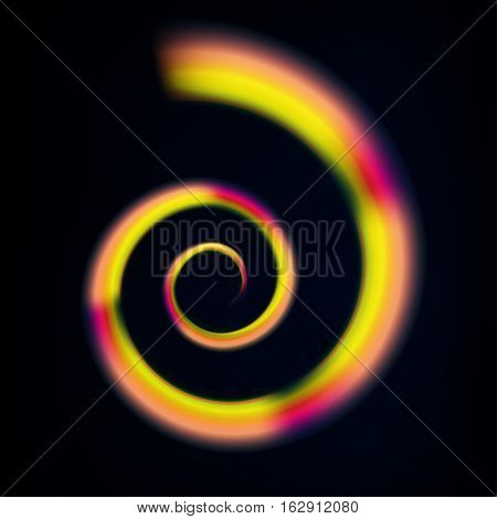 Beautiful multicoloured vector swirl on a rich black background. Spectrum emblem symbol. Abstract dynamic curly wave backdrop.