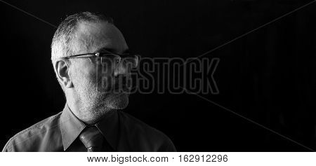 Portrait of a middle aged man black and white