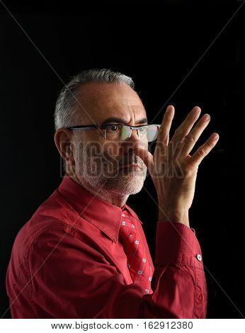 middle man Mocking with a black background