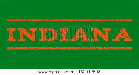 Indiana watermark stamp. Text caption between horizontal parallel lines with grunge design style. Rubber seal stamp with dirty texture. Vector orange color ink imprint on a green background.