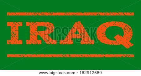 Iraq watermark stamp. Text caption between horizontal parallel lines with grunge design style. Rubber seal stamp with unclean texture. Vector orange color ink imprint on a green background.