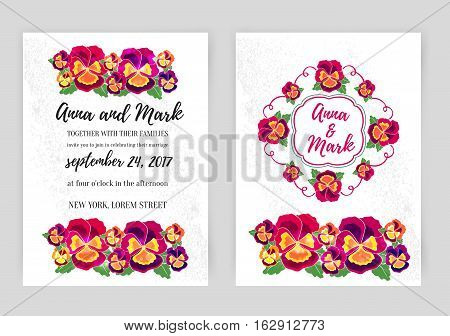 Vector set of floral wedding invitations. Design for wedding invitation, flower shop and beauty salons. Bright pansies on a white background