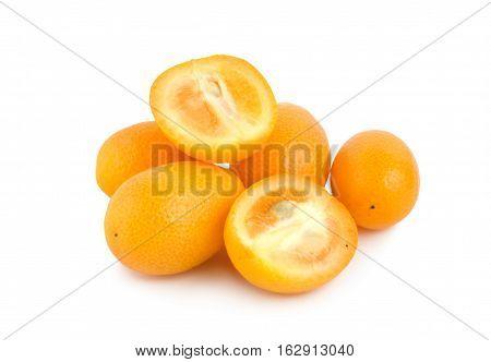 Ripe kumquat isolated on a white background