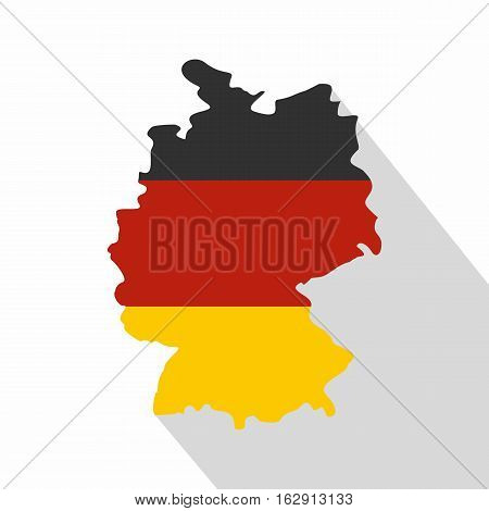 Germany map with national flag icon. Flat illustration of Germany map with national flag vector icon for web isolated on white background