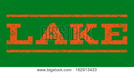 Lake watermark stamp. Text caption between horizontal parallel lines with grunge design style. Rubber seal stamp with dirty texture. Vector orange color ink imprint on a green background.
