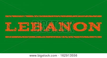Lebanon watermark stamp. Text tag between horizontal parallel lines with grunge design style. Rubber seal stamp with scratched texture. Vector orange color ink imprint on a green background.