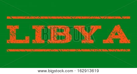 Libya watermark stamp. Text tag between horizontal parallel lines with grunge design style. Rubber seal stamp with dirty texture. Vector orange color ink imprint on a green background.