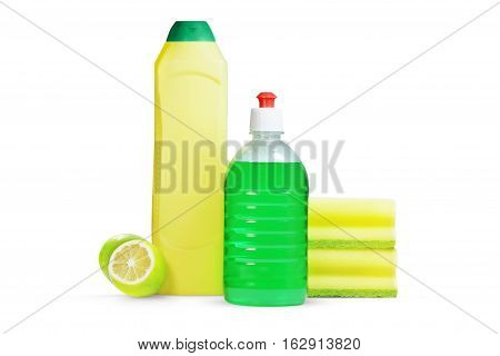 detergent and sponge on a white background