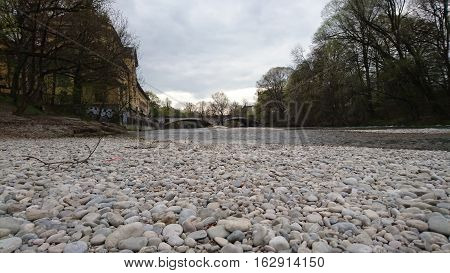 Isar river bed with pebbles in Munich