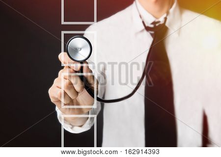Healthcare, Medical And Technology - Young Doctor And Checkbox, Doctor With A Stethoscope In The Han