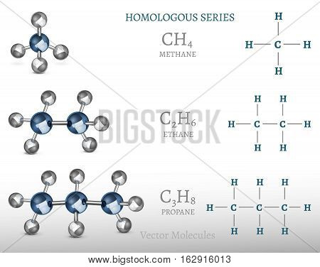 Propane, ethane, methane molecules in 3D style. Vector illustration with chemical formulas isolated on a light grey background. Scientific, educational and popular-scientific concept.