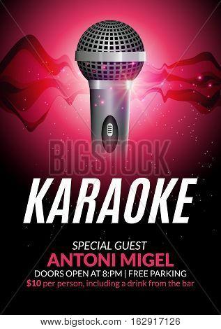 Karaoke party invitation poster design template. Karaoke night flyer design. Music voice concert. poster