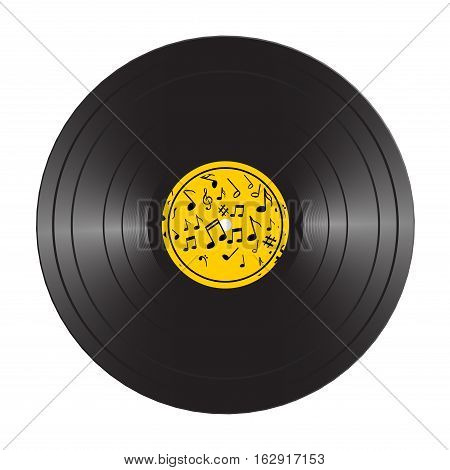 Vinyl LP record disc. Black musical vinyl album disc. Realistic retro template isolated on white.