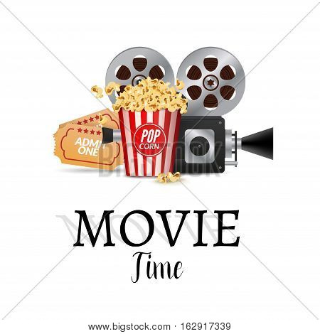 Cinema movie vector poster design template. Filmstrip, tickets. Movie time background banner shining sign.