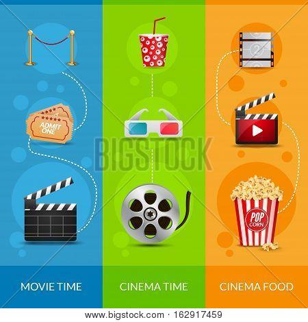 Cinema movie banner poster design template. Film clapper, 3D glasses, popcorn. Cinema banner set layout.