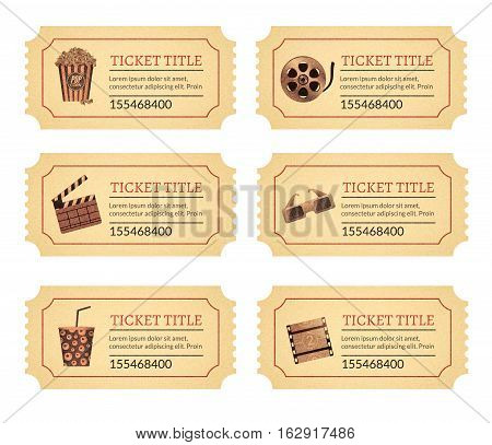 Set cinema movie tickets. Old vintage tickets labels with popcorn food and drink and other icons.