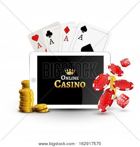Online casino design poster banner. Tablet with poker chips, coins and cards on table. Casino gambling background, poker mobile app.