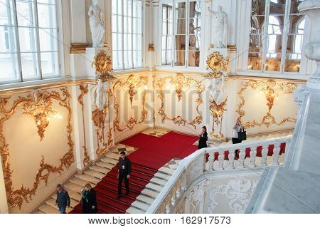 St. Petersburg, Russia - 1 December, People on the Jordan Staircase Hermitage, 1 December, 2016. Visiting of exhibitions and expositions State Hermitage.