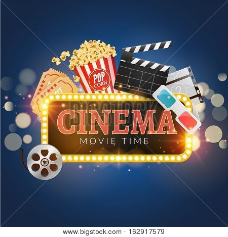 Cinema movie vector poster design template. Popcorn, filmstrip, clapboard, tickets. Movie time background banner shining sign.