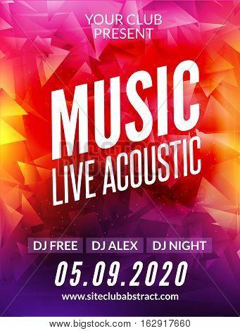 Live music acoustic poster design temple. Live show modern party dj invitation flyer.