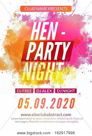 Hen-party flyer invitation design template. Girls event show deisgn. Ladies feminine night party flyer template.