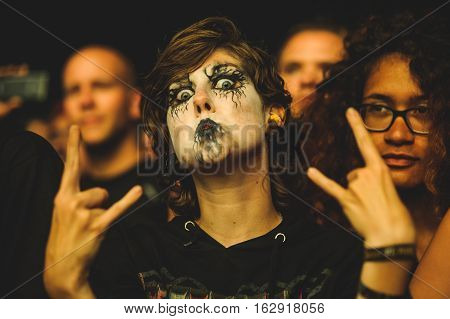TOLMIN, SLOVENIA - JULY 25TH: HEAVY METAL FANS WITH CORPSE PAINT ENJOYING THE METALDAYS FESTIVAL ON JULY 24TH, 2016 IN TOLMIN, SLOVENIA