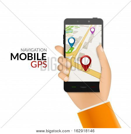 GPS phone navigation - mobile gps and tracking concept. Hand holding a mobile phone with city map.