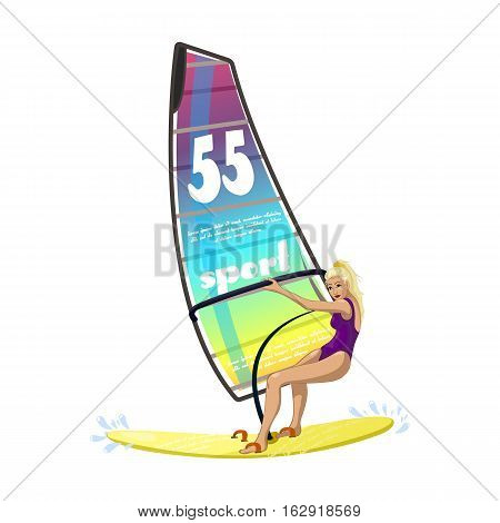 Windsurfing water sports on the ocean waves. Girl on a surfboard. Sports competition in windsurfing, and fun for the soul. Vector illustration.