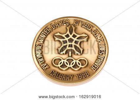 Calgary 1988 Winter Olympic Games Participation Medal Reverse Kouvola Finland 06.09.2016.