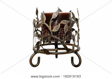 Forged iron candelabrum with candle. Isolated, white background.