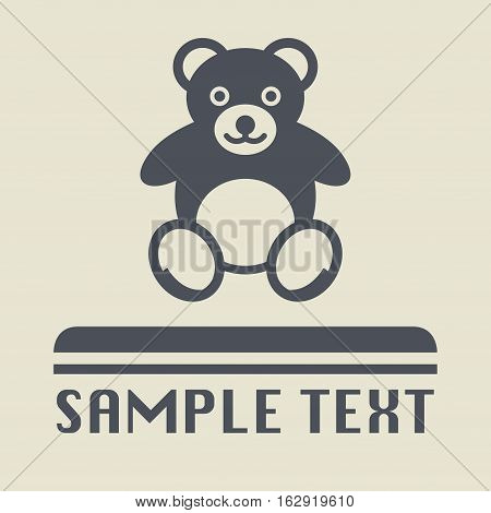 Teddy bear plush toy icon or sign vector illustration
