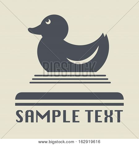 Rubber duck or ducky bath toy icon or sign vector illustration