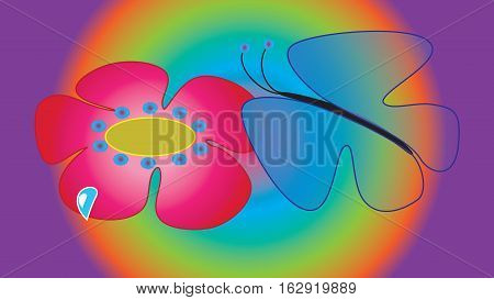 Fantastic flower and butterfly with translucent wings on a purple background.