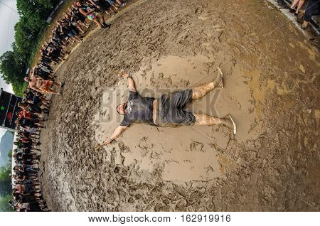 TOLMIN, SLOVENIA - JULY 24TH: HEAVY METAL FAN MAKING MUD ANGEL THE METALDAYS FESTIVAL ON JULY 24TH, 2016 IN TOLMIN, SLOVENIA