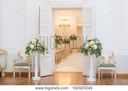 Wedding ceremony hall ready for couple and guests