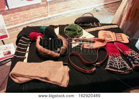 St. Petersburg, Russia - 2 December, Exposure musketeer accessories, 2 December, 2016. Visit musketeer chambers of the Peter-Paul Fortress in the framework of the cultural forum in St. Petersburg.