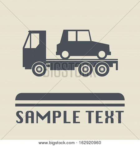 Car salvage and towing icon or sign vector illustration