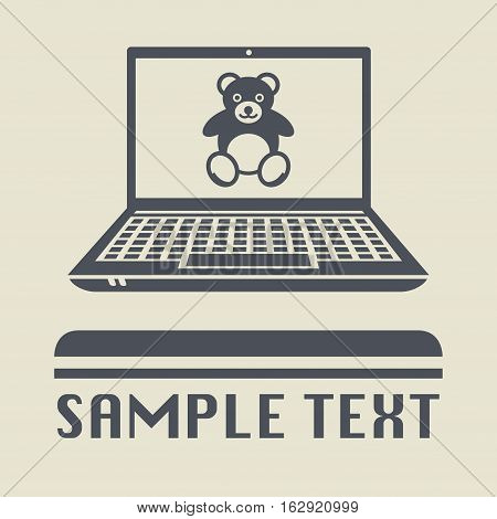 Laptop or notebook computer with Teddy Bear plush toy icon or sign vector illustration