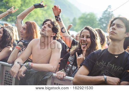 TOLMIN, SLOVENIA - JULY 24TH: HEAVY METAL FANS ENJOYING THE METALDAYS FESTIVAL ON JULY 24TH, 2016 IN TOLMIN, SLOVENIA
