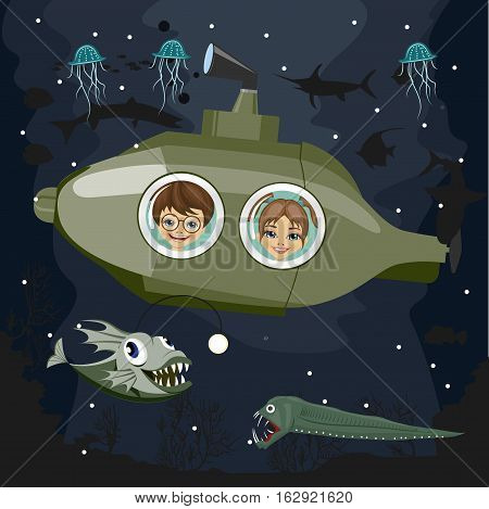 preschool kids in a semi submersible sea craf or submarine observing deep-sea predators