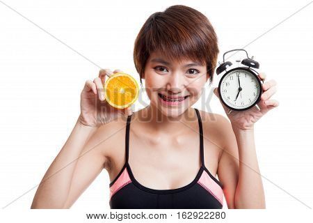 Beautiful Asian Healthy Girl With Orange And Clock.