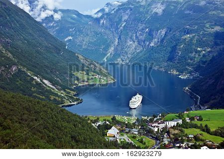 Cruise liner in Geiranger sea port, Norway