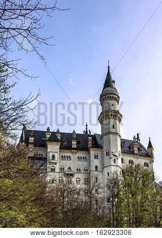 Castle Neuschwanstein building, Bavaria, Germany, German architecture