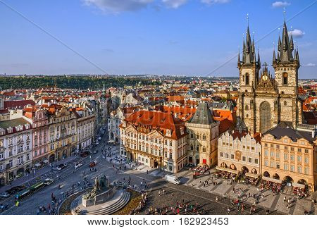 Prague, Czech Republic. Old Town Staromestska square. Church of our Lady Tyn